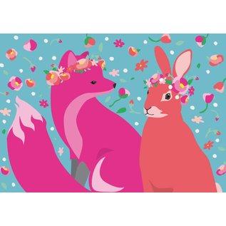 Postkarte - Fuchs und Hase