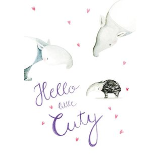 tg042 | Tabea Güttner | Tapir - Hello Little Cutie - folding card  B6