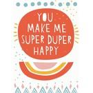 Designfräulein df034   Designfräulein   Super Duper Happy - Postkarte A6
