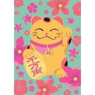 ha002   happiness   Waving Cat - postcard A6