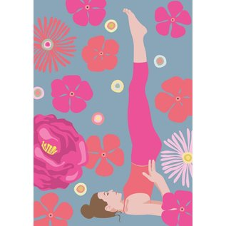 ha004 | happiness | Yoga - Salamba Sarvangasana - Shoulder Stand - postcard A6