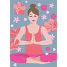 ha005 | happiness | Yoga - padmasana - lotus seat - Postkarte A6