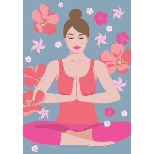 Postkarte - Yoga - padmasana - lotus seat