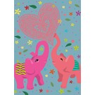 ha007 | happiness | Love Elephants - Postkarte A6