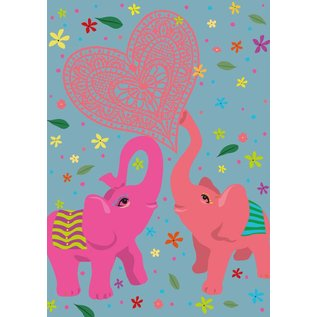 ha007 | happiness | Love Elephants - Postkarte A6