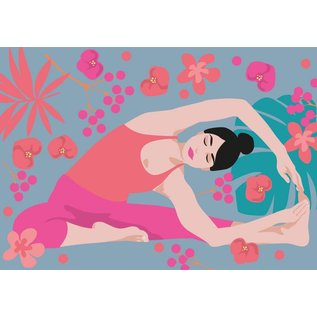 ha013 | happiness | Yoga - Parivritta Janu Shirshasana - Twisted Head-To-Knee Pose - postcard A6