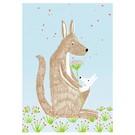 Postkarte - Känguruh mit Baby