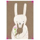 Postkarte - Hase mit Baby - Neon Pink