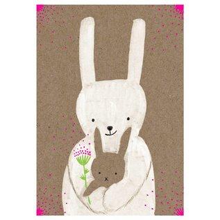 SG191   schönegrüsse   Bunny With Baby - Neon Pink - postcard A6