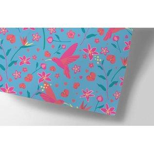 ha704 | happiness | Kolibri And Flowers - Geschenkpapier Bogen 50 x 70 cm