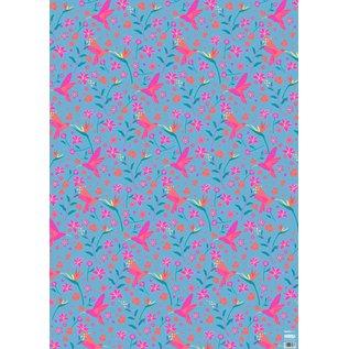 ha704   Geschenkpapier - Kolibri and Flowers