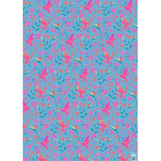 ha704 | happiness | Hummingbird And Flowers - wrapping paper Bogen 50 x 70 cm