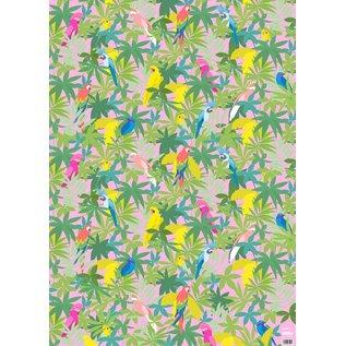 ha706 | happiness | Parrots - wrapping paper Bogen 50 x 70 cm