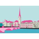 bv006 | bon voyage | Fraumünster Zurich, Switzerland - postcard A6