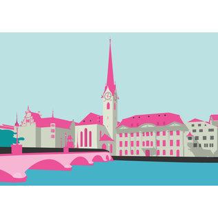 bv006   bon voyage   Fraumünster Zurich, Switzerland - postcard A6