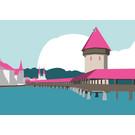 bv011 | bon voyage | Kapellbrücke Luzern, Switzerland - Postkarte A6