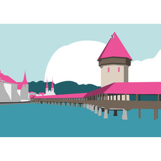 bv011 | bon voyage | Chapel Bridge Lucerne, Switzerland - postcard A6