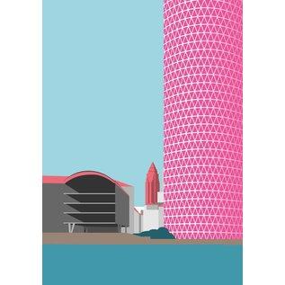 bv029 | bon voyage | The Ribbed - Westhafen Tower, Frankfurt - postcard A6