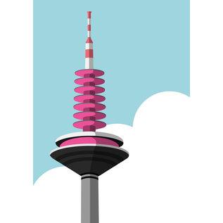 bv031 | bon voyage | Ginnheimer Spargel - Europaturm, Frankfurt - postcard A6