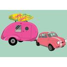 Postcard - Fiat 600 With Caravan