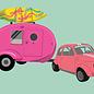 lu106 | luminous | Fiat With Caravan - postcard A6