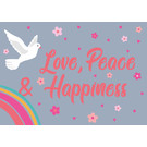 ha019 | happiness | Love, Peace & Happiness - postcard A6