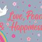 ha019   Postkarte - love, peace, happiness