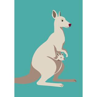 bf008 | best friends | Känguruh - Postkarte A6