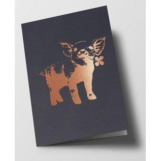 pu074 | Pure | Pig, Gray - folding card  B6