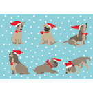 Postcard - Dogs With Santa Hat
