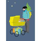ccx012 | crissXcross | Hipster mit Kinderwagen - Postkarte A6