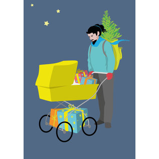 ccx012 | crissXcross | Hipster With Stroller - postcard A6