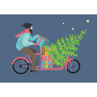 ccx014 | Postkarte - Hipster auf Fahrrad