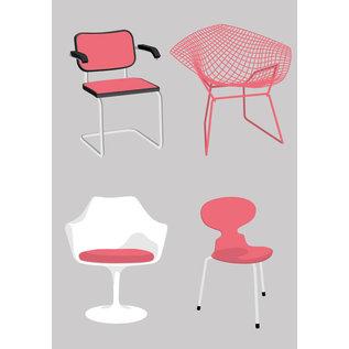 dc004 | Design Classics | Breuer/Bertoia/Saarinen/Jacobsen - Postkarte A6