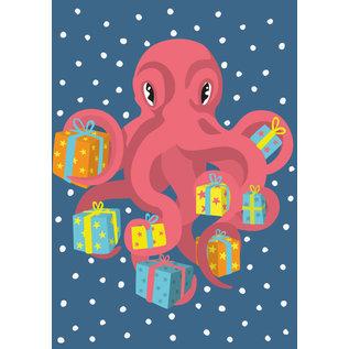 lux007 | Postkarte - Krake mit Geschenken
