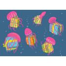 lux008 | luminous | Quallen mit Geschenken - Postkarte A6