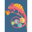 lux009 | luminous | Chameleon With Gifts - postcard A6