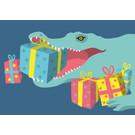 Postkarte - Krokodil mit Geschenken