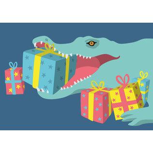 lux010 | Postkarte - Krokodil mit Geschenken