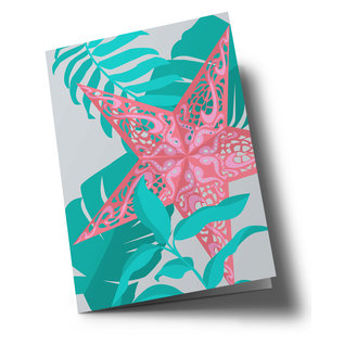 hax322 | happiness | Xmas Star Gray - folding card  B6