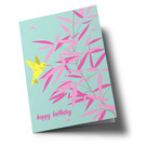 ha324 | happiness | Bamboo With Hummingbird - folding card  B6