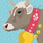 ccx022   crissXcross   Kuh im Schnee - Postkarte A6
