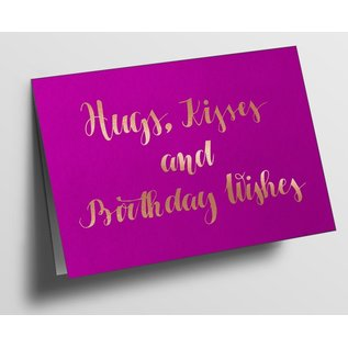 pu087 | Pure | Hugs, Kisses And Birthday Wishes, Pink - folding card  B6