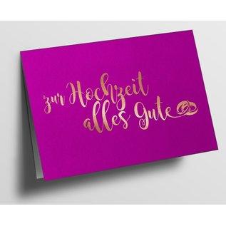 pu089   Klappkarte - zur Hochzeit alles Gute, pink