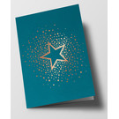 pu073 | Pure | Star With Dots, Petrol - folding card  B6