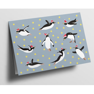 cc312 | Folded Card - Flying Pinguins