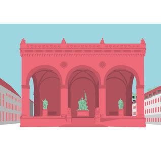bv040 | bon voyage | Feldherrnhalle, München - Postkarte A6