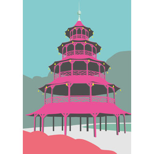 bv041 | bon voyage | Chinese Tower, München - Postkarte A6