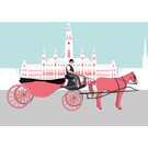 bv042 | bon voyage | Fiaker in front of City Hall, Vienna - postcard A6