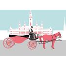 bv042 | bon voyage | Fiaker vor Rathaus, Wien - Postkarte A6